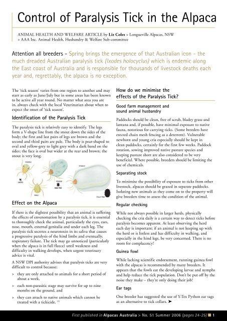 Control of Paralysis Tick in the Alpaca - Australian Alpaca Association