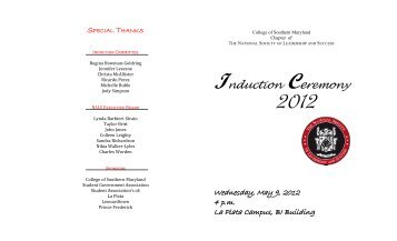 Induction Ceremony - College of Southern Maryland