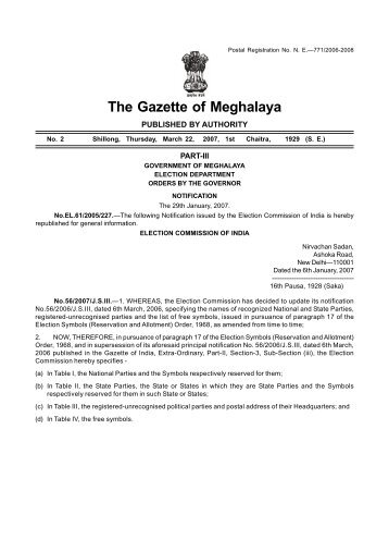 The Gazette of Meghalaya