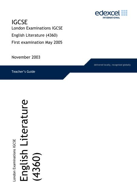 edexcel igcse english literature model answers