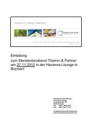 Einladung zum Mandantenabend Thamm & Partner am 27.11.2012 ...