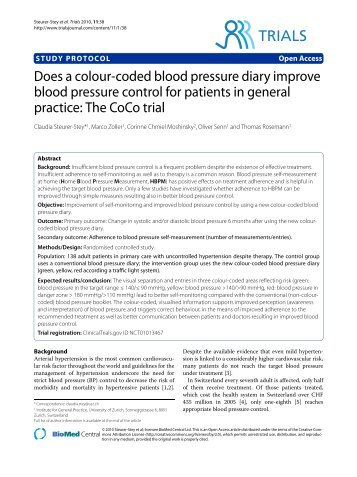 Does a colour-coded blood pressure diary improve ... - BioMed Central