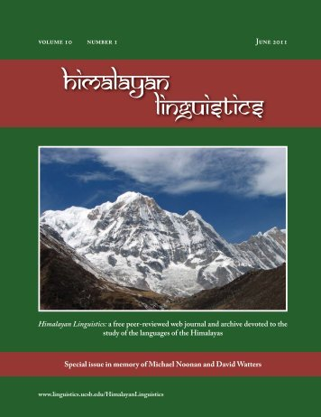 himalayan linguistics - UCSB Linguistics - University of California ...