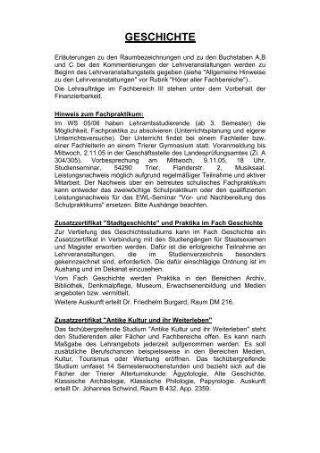 Wintersemester 2005/06 - Homepage des Fachs Geschichte der ...