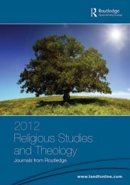 2012 Religious Studies and Theology - Taylor & Francis