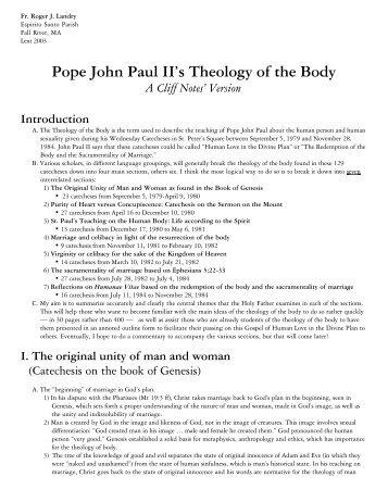 Pope John Paul II's Theology of the Body - CatholicPreaching.com