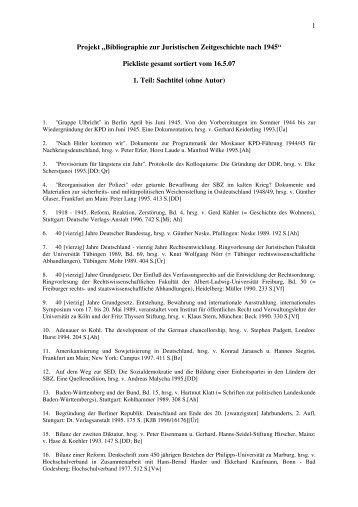 1. Teil: Sachtitel ohne Autor - Fachbereich Rechtswissenschaft der ...