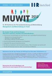 Management und Weiterbildung im Trend MUWIT - IIR Deutschland ...
