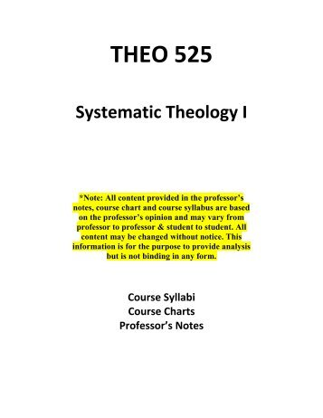 theology notes syllabus How would you like to have to interpret the syllabus for a class in college   miller, dr david theology class notes, western baptist college salem  or.