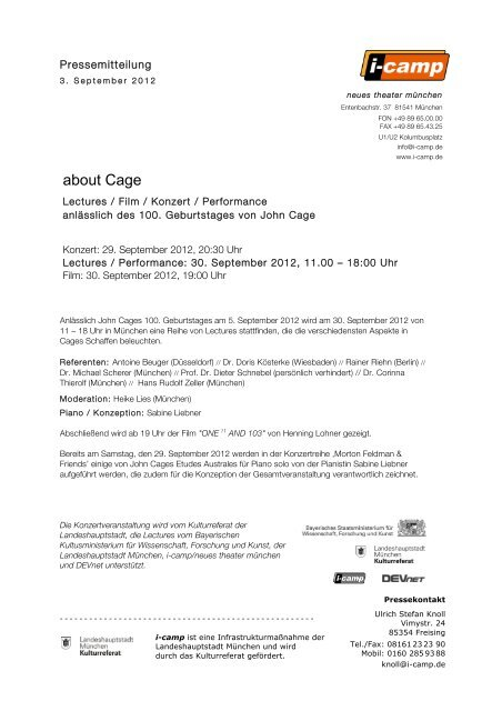 about Cage - Neues Theater München