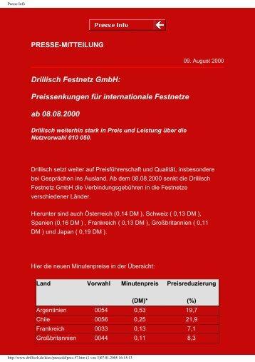 Preissenkungen für internationale Festnetze ab 08.08 ... - Drillisch AG
