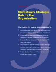 Marketing's Strategic Role in the Organization - MHHE.com