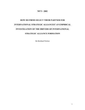how do firms select their partner for international strategic alliances