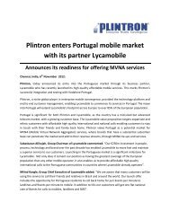 Plintron enters Portugal mobile market with its partner Lycamobile
