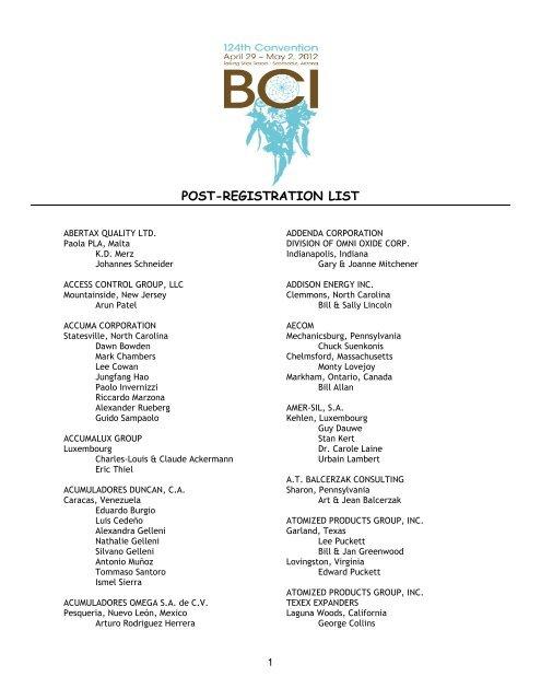 POST-REGISTRATION LIST - Battery Council International - Home