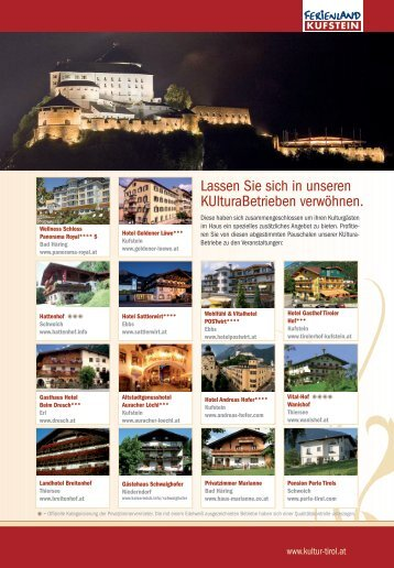 KUltura Card und Hotels - KUltura Ferienland Kufstein