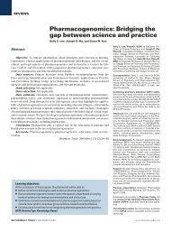 Pharmacogenomics: Bridging the gap between ... - Pharmacy Today