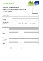 Anmeldeformular Eventmanagement - Fachhochschule St. Pölten