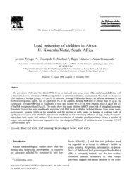 Lead poisoning of children in Africa, II. Kwazulu/Natal, South Africa
