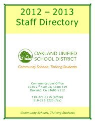 2012 – 2013 Staff Directory - Oakland Unified School District