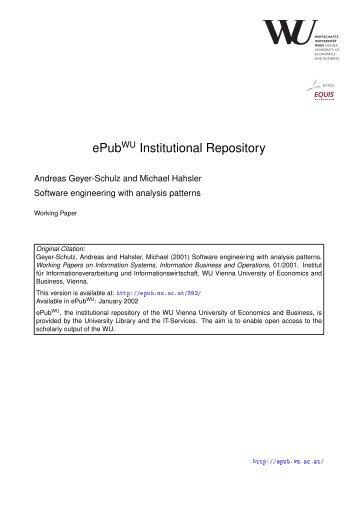 4 Analysis Pattern - Epub WU Wien - Wirtschaftsuniversität Wien