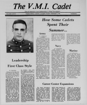 The Cadet. VMI Newspaper. September 05, 1986 - New Page 1 ...