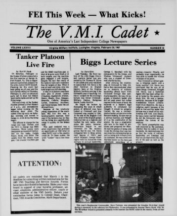 The Cadet. VMI Newspaper. February 20, 1987 - New Page 1 ...