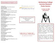 Muhlenberg College Summer Research Poster Session