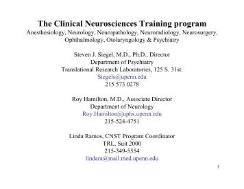 The Clinical Neurosciences Training program - University of ...