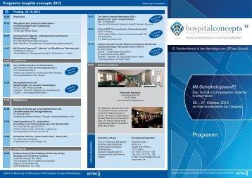 Programm hospital concepts 2012