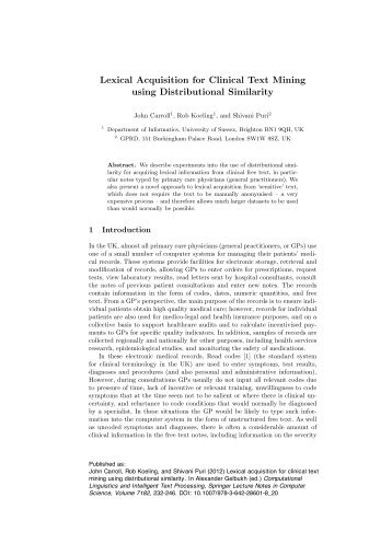 Lexical Acquisition for Clinical Text Mining using Distributional ...