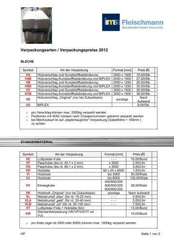 Verpackungsarten / Verpackungspreise 2012