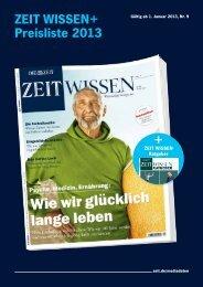 ZEIT WISSEN+ Preisliste 2013 + - iq media marketing
