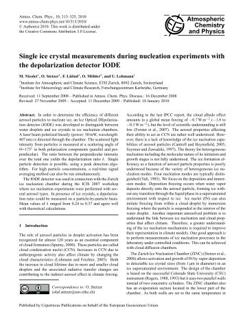 Single ice crystal measurements during nucleation experiments with ...
