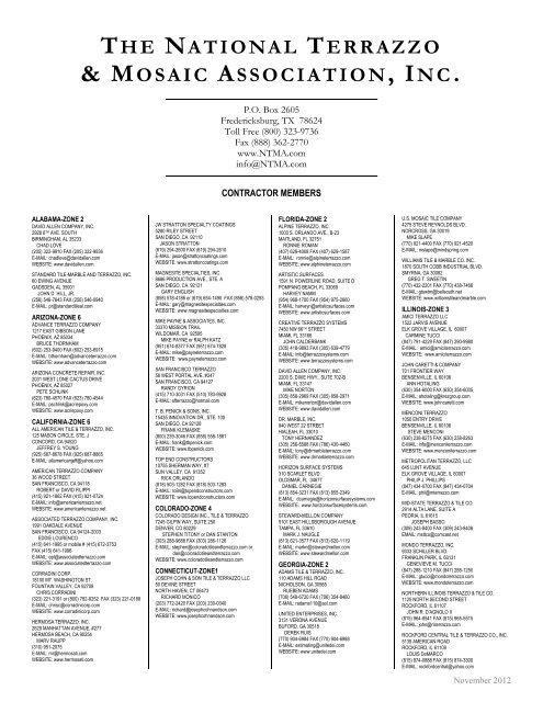 The National Terrazzo Mosaic Association Inc