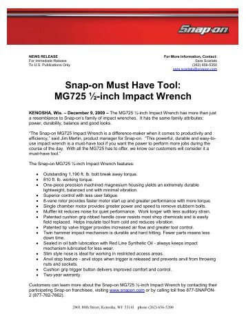 Snap-on Must Have Tool: MG725 ½-inch Impact Wrench