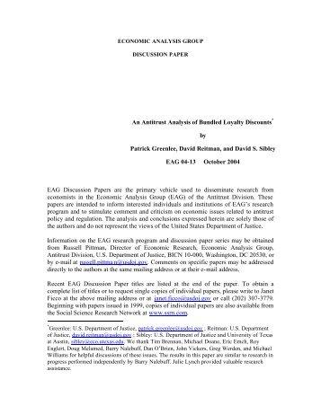 An Antitrust Analysis of Bundled Loyalty Discounts* by Patrick ...