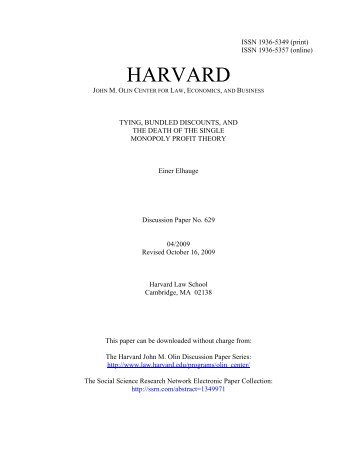 tying, bundled discounts, and the death - Harvard Law School ...