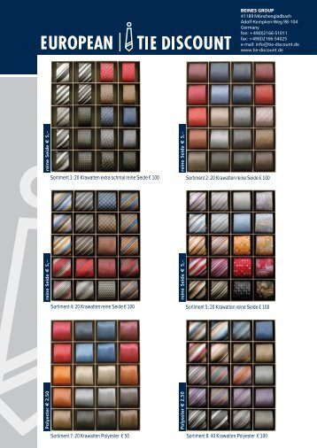 20 Krawatten reine Seid - EUROPEAN TIE DISCOUNT
