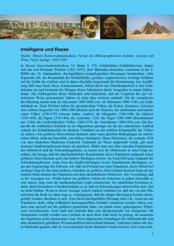 Intelligenz und Rasse - von Manfred Hiebl