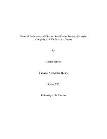 Financial Performance Of Discount Retail Stores During A