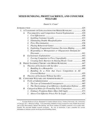 mixed bundling, profit sacrifice, and consumer welfare - Emory Law