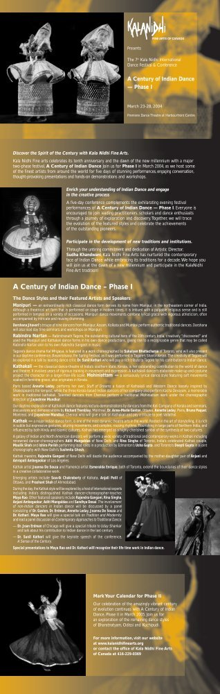 A Century of Indian Dance – Phase I - Kala Nidhi Fine Arts of Canada