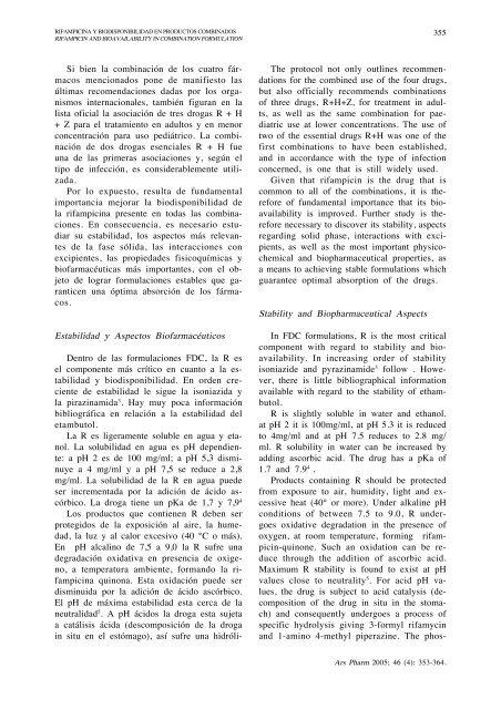 Rifampicina y biodisponibilidad en productos combinados