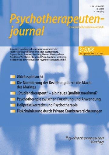 Psychologische/n Psychotherapeut - Psychotherapeutenjournal