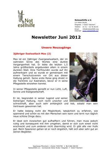 Newsletter Juni 2012 - Noteselhilfe
