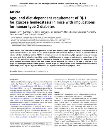 Age- and diet-dependent requirement of DJ-1 for glucose ...