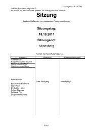 Sitzungstag: 18.10.2011 Sitzungsort - Stadt Abensberg