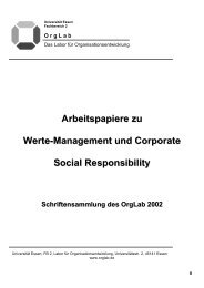 Arbeitspapiere zu Werte-Management und Corporate Social - OrgLab