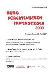 Pressekonferenz 26. Mai 2009 • Neues Musical - Burg Forchtenstein